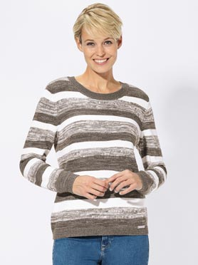 Pull taupe-blanc