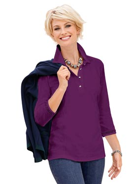 Tee-shirt uni col polo avec boutons manches 3/4 violet