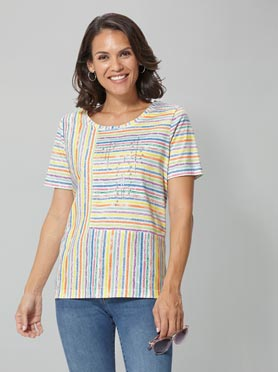 T-shirt rayures multicolors perpendiculaires