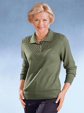 Pull polo vert olive
