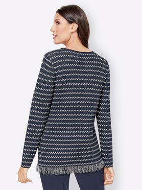 Pull motif jacquard graphique all over col rond