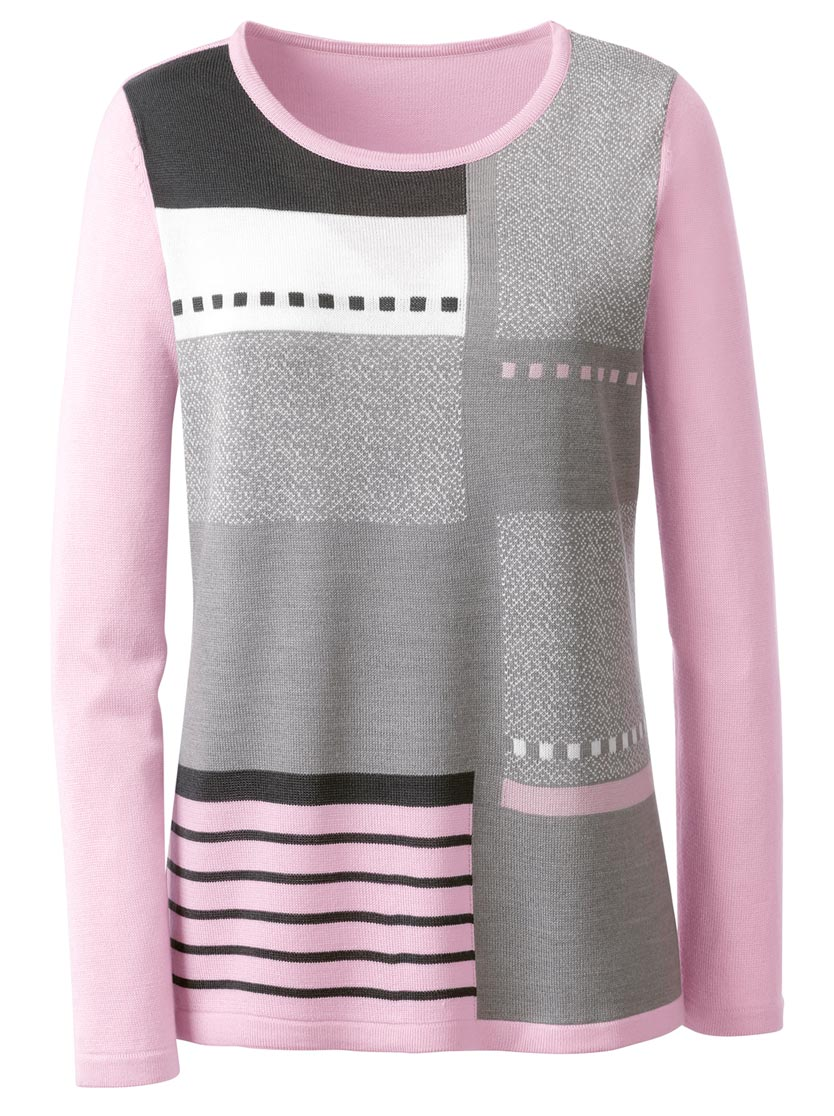 Pull aspect patchwork motifs jacquard et intarsia col rond