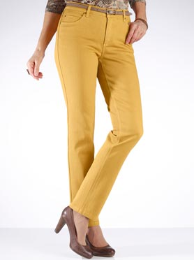 Jean femme 5 poches coupe droite taille haute jaune curry