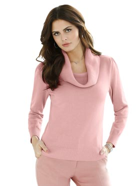 Pull femme col bénitier confortable rose