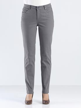 Jean femme 5 poches coupe droite taille haute anthracite