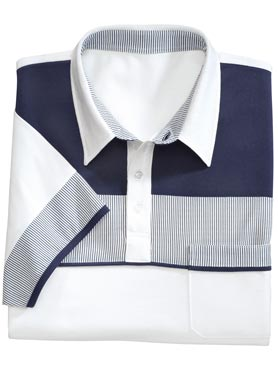 Polo homme à larges rayures manches courtes