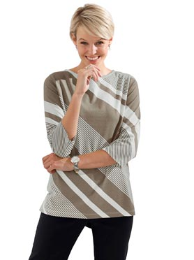 T-shirt manches 3/4 rayures diagonales taupe a rayu
