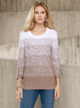 Pull en maille fine manches 3/4 taupe