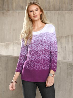 Pull en maille fine manches 3/4 mûre