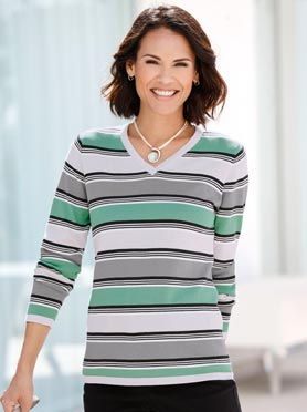 Pull gris-jade à rayures