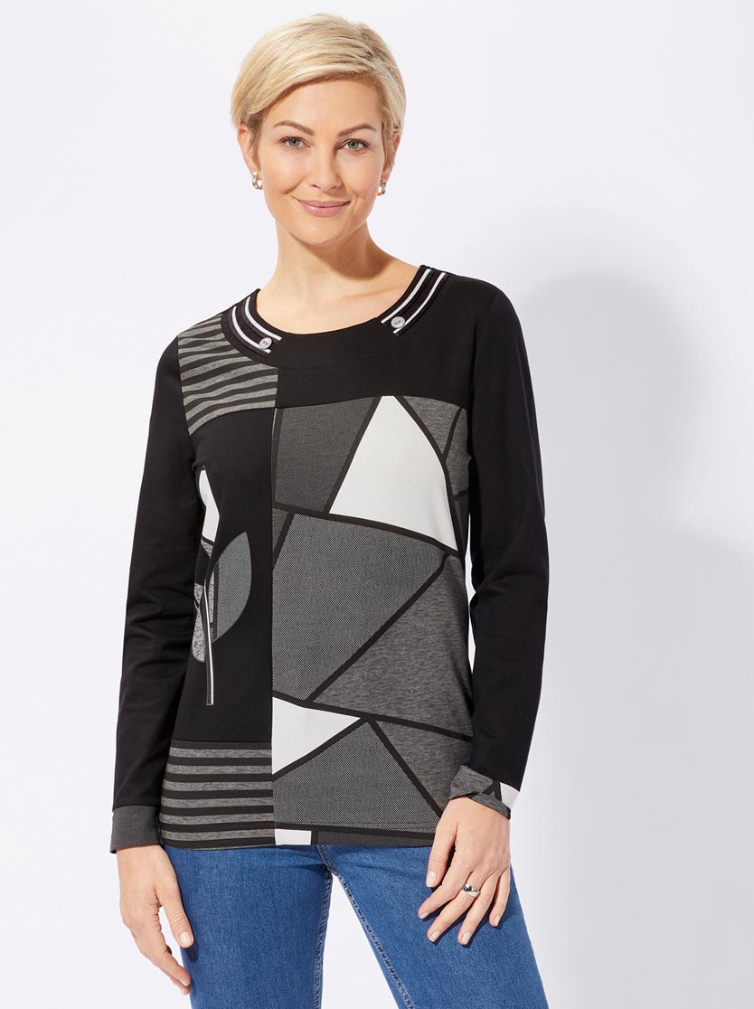 T-shirt style patchwork  col rond manches longues